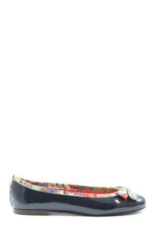 french sole Ballerines en cuir verni motif de fleur style décontracté