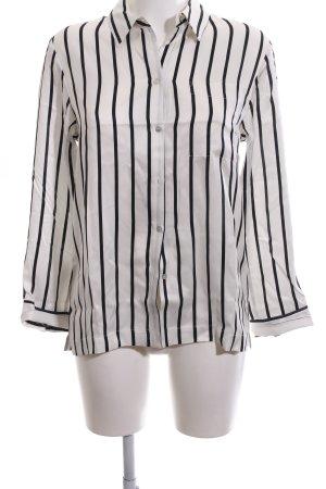 Langarm-Bluse weiß-schwarz Streifenmuster Business-Look