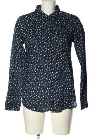 Langarm-Bluse blau-weiß Allover-Druck Casual-Look