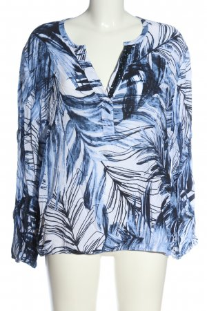 Faber Long Sleeve Blouse blue-white allover print business style