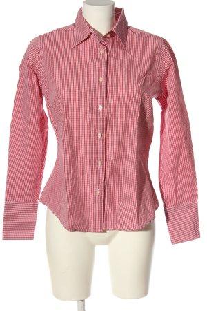 Koszula z długim rękawem biały-czerwony Wzór w kratkę W stylu casual