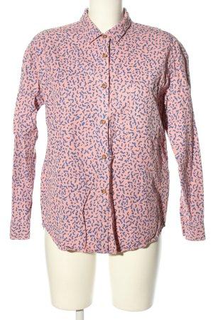 Langarmhemd pink-blau Allover-Druck Casual-Look