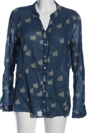 Langarmhemd blau Allover-Druck Casual-Look