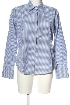 Milano Moda Donna Langarmhemd blau-weiß Allover-Druck Business-Look