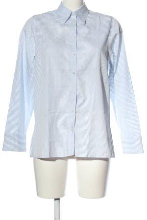 Milano Moda Donna Langarmhemd weiß-blau Allover-Druck Business-Look