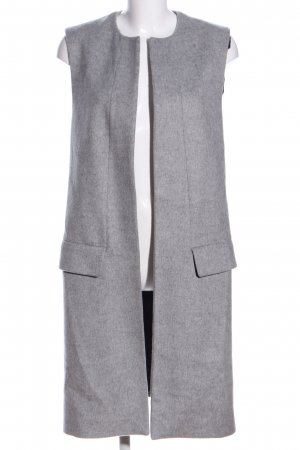 Zara Studio Lange Jacke hellgrau meliert Business-Look