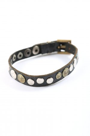 Icon Brazalete de cuero negro-color plata look casual