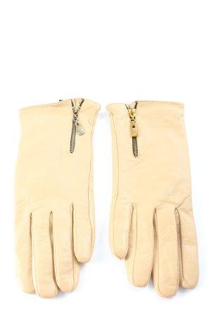 Rękawiczki skórzane kremowy W stylu biznesowym