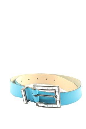 Cinturón de cuero de imitación azul-crema look casual