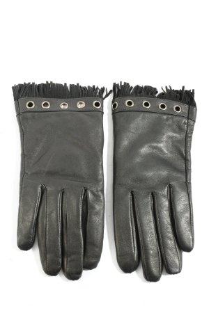 Pearlwood Handschoenen van imitatieleder zwart casual uitstraling
