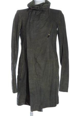 Skórzany płaszcz jasnoszary W stylu casual
