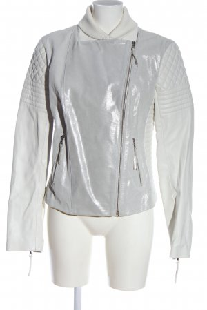 Michalsky Leather Jacket silver-colored-white casual look