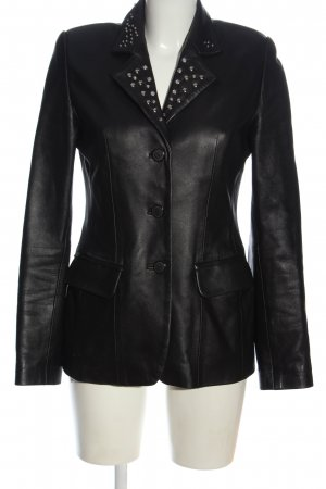 Leather Coat black extravagant style