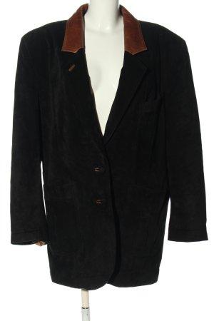 SCIROCCO Manteau en cuir noir-bronze style décontracté