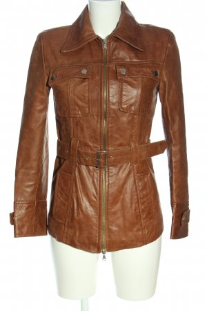 Leather Coat brown casual look
