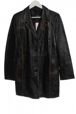 Brancko Manteau en cuir noir style décontracté