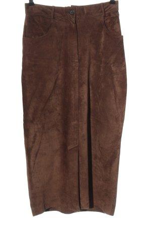 Jupe en cuir brun style décontracté