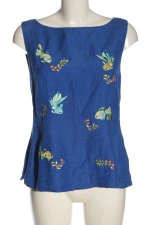 Linnen blouse blauw prints met een thema casual uitstraling