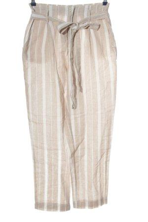 Pantalón de lino crema-blanco estampado a rayas look casual