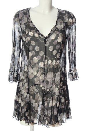 Długa bluzka czarny-w kolorze białej wełny Na całej powierzchni