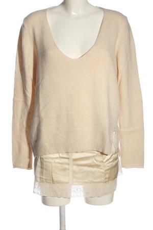 Długi sweter kremowy W stylu casual