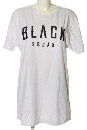 Black Squad Longshirt weiß-schwarz Schriftzug gedruckt Casual-Look