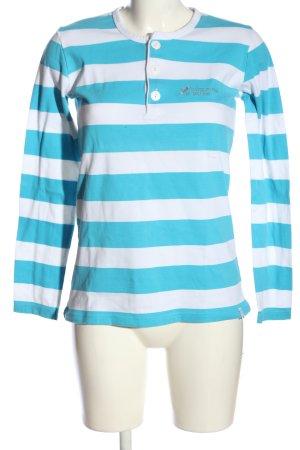 Lang shirt blauw-wit gestreept patroon casual uitstraling