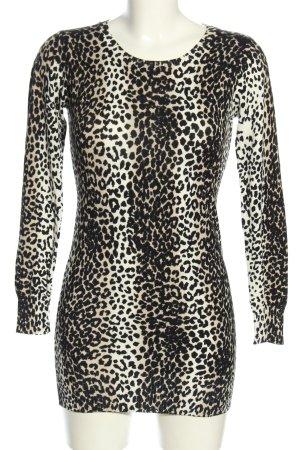 Lang shirt wolwit-zwart volledige print extravagante stijl