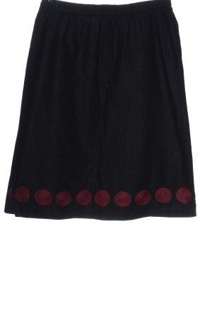 H&M Midirock schwarz-pink Punktemuster Casual-Look