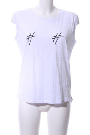 Camisa de tirantes para hombres blanco-negro estampado temático look casual