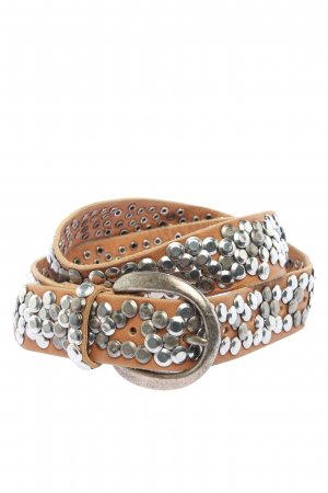 Studded Belt brown-silver-colored casual look
