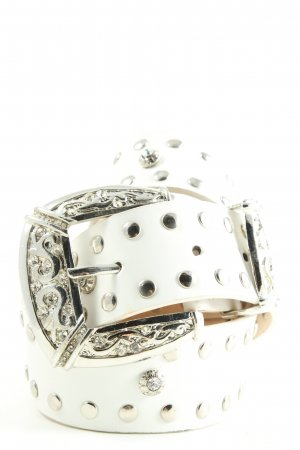 Studded Belt white-silver-colored casual look
