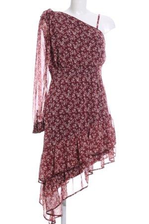 One-Shoulder-Kleid braun-wollweiß Blumenmuster Casual-Look