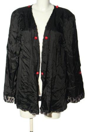 Płaszcz oversize czarny-w kolorze białej wełny Wzór w lwa W stylu casual