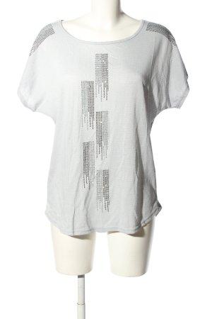 Top extra-large blanc-gris clair imprimé avec thème style décontracté