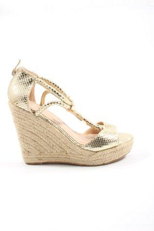 RS Platform Sandals gold-colored animal pattern wet-look