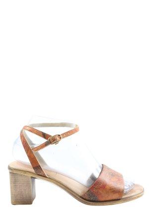 avant garde Riemchen-Sandaletten hellorange abstraktes Muster Elegant