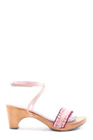 Sandalias de tacón con plataforma naranja claro-rosa look casual