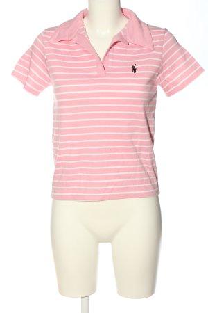 Sogoss Camiseta tipo polo rosa-blanco estampado a rayas look casual
