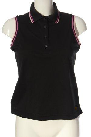 Polo nero-rosa motivo a righe stile casual