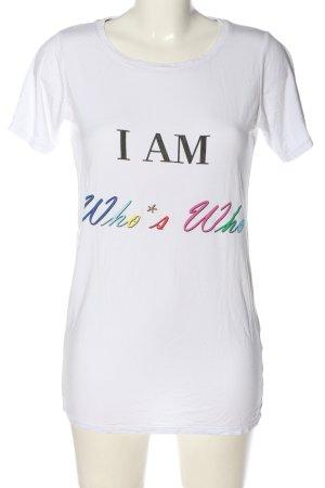 Who's'Who Print-Shirt weiß Schriftzug gedruckt Casual-Look