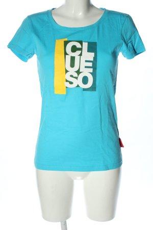 Koszulka z nadrukiem niebieski Wydrukowane logo W stylu casual