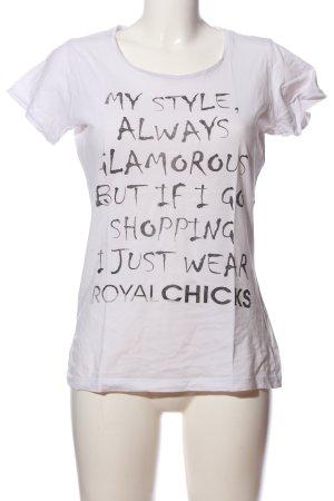 Print-Shirt weiß-schwarz Motivdruck Casual-Look