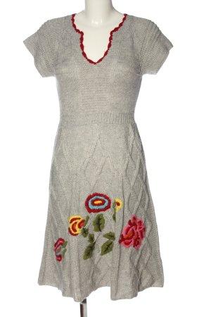 Sweater Dress light grey-red flower pattern casual look