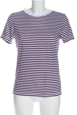 Koszulka w paski biały-fiolet Wzór w paski W stylu casual
