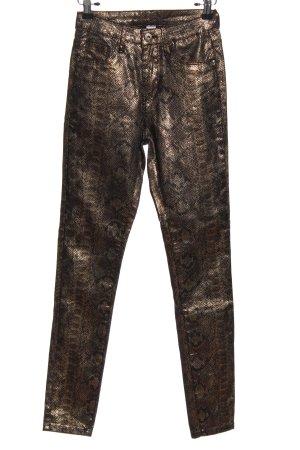 Pantalón de tubo color bronce estampado de animales estilo extravagante