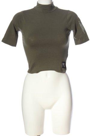 New Bav Turtleneck Shirt khaki printed lettering casual look