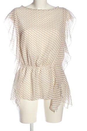 Bluzka z falbankami w kolorze białej wełny-brązowy Wzór w kropki