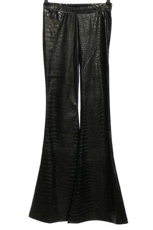 Broek met wijd uitlopende pijpen zwart volledige print extravagante stijl