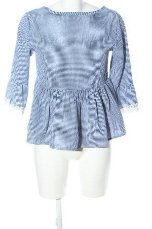 Schlupf-Bluse blau-weiß Karomuster Casual-Look